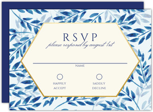 Elegant Blue Watercolor Foliage Bat Mitzvah Response Card
