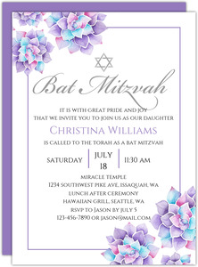Lavender Watercolor Succulents Bat Mitzvah Invitation