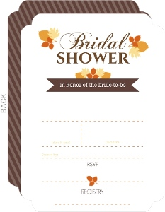 Modern Fall Leaves Fill In The Blank Bridal Shower Invite