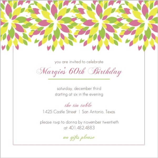 Bright Floral 60Th Birthday Invitation