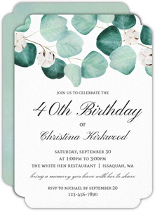 Elegant Silver Dollar 40th Birthday Invitation