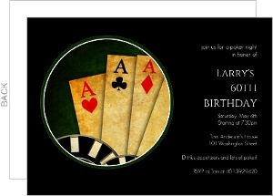 Black Poker Night 60Th Birthday Invitation