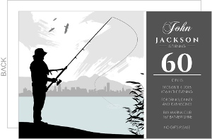 Grey Fishing 60th Birthday Invitation