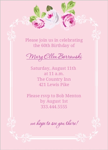 Pink Floral 60Th Birthday Invite 60th Birthday Invitations