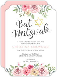 Pink Floral Arrangement Bat Mitzvah Invitation