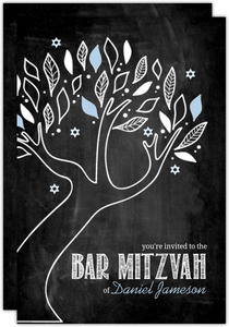 Chalkboard Blue and White Tree Hebrew Name Bar Mitzvah Invitation