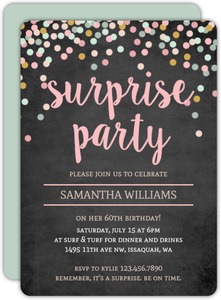 Colorful Confetti Chalkboard Surprise 60th Birthday Invitation
