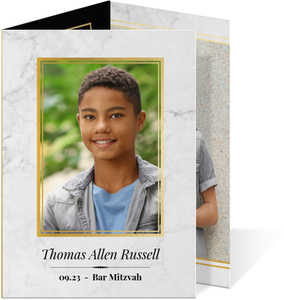 Classic Marble Trifold Bar Mitzvah Invitation