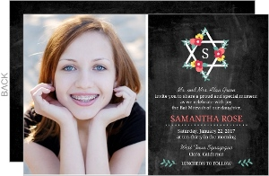Chalkboard Star Flower Bouquet Bat Mitzvah Invitation