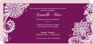 Purple Elegant Lace Bat Mitzvah Invitation