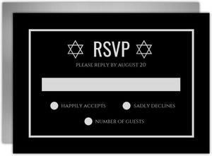 Classy Faux Silver Bar Mitzvah Response Card