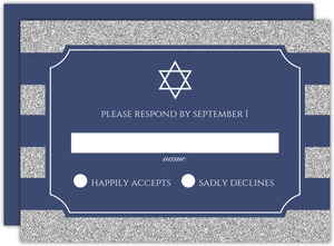 Personalized White and Blue Tree Response Card