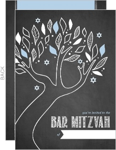 Chalkboard Tree Fill in the Blank Bar Mitzvah Invitation