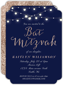 Bright Hanging Lights Bat Mitzvah Invitation
