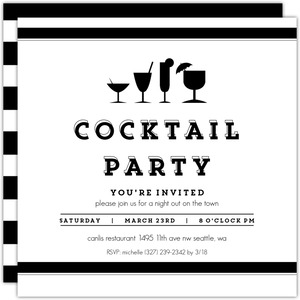 Black & White Cocktail Party Invitation
