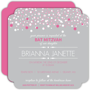 Gray and Pink Bubbles Bat Mitzvah Invitation