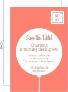 Coral And White Contemporary 60Th Birthday Party Invitation