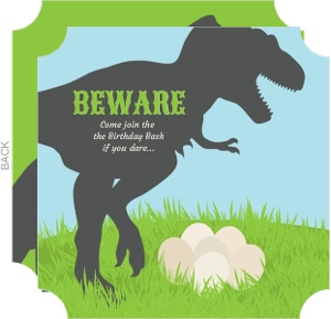 Trex Dinosaur Fill in the Blank Birthday Invitation