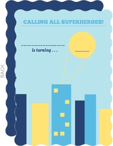 Superhero Skyline Fill in the Blank Birthday Invitation