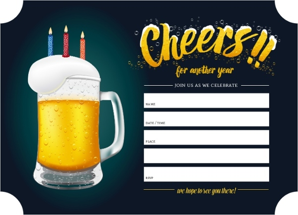 Cheers Beer Birthday Fill In The Blank Invitation