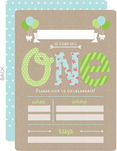 Blue & Green First Birthday Fill In The Blank Invitation