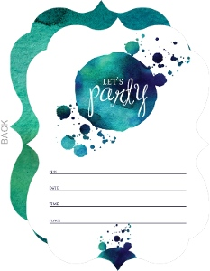 Painted Splatter Party Fill In The Blank Invitation