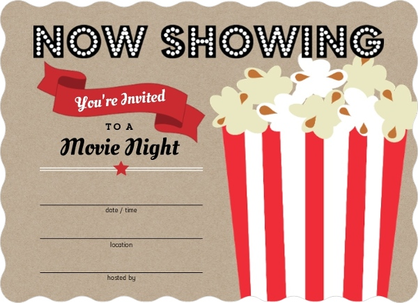 Movie Popcorn Bucket Fill In The Blank Party Invitations