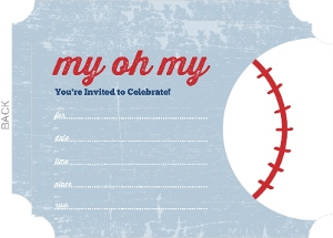 My Oh My Blue Grunge Fill in the Blank Baseball Invitation