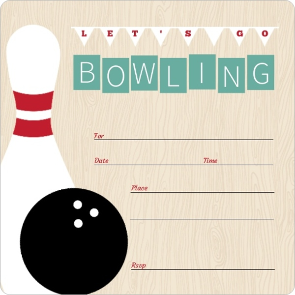 Vintage Turquoise Fill In The Blank Bowling Invitation  Blank