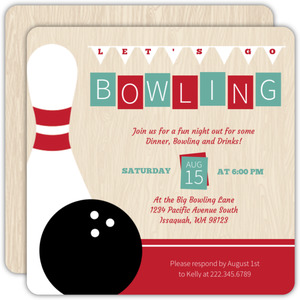 Vintage Woodgrain Bowling Invitation