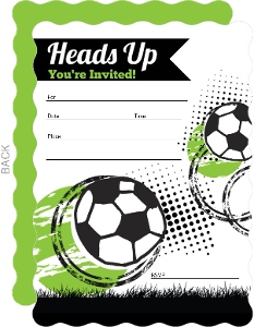 Heads Up Fill in the Blank Soccer Party Invitation