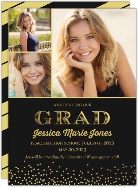 Purple and Gold Foil Confetti Graduation Announcement