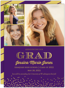 Purple and Gold Foil Confetti Graduation Announcement