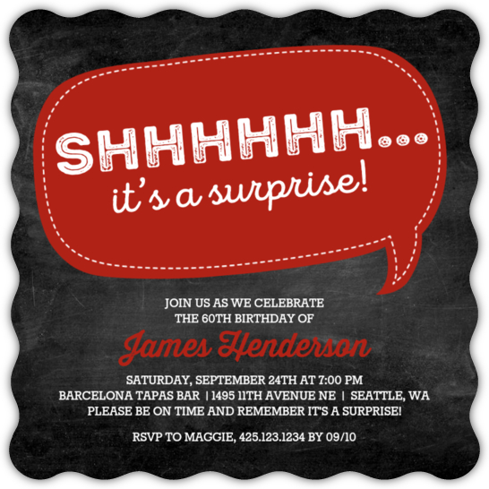Speech Bubble Surprise 60th Birthday Invitation