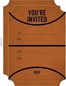 Rustic Black and Orange Fill in the Blank Basketball Invitation