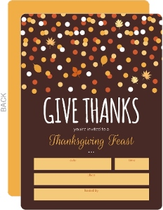 Orange and Brown Confetti Fill in the Blank Thanksgiving Invitation
