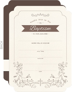 Whimsical Stencil Swirls Baptism Invitation