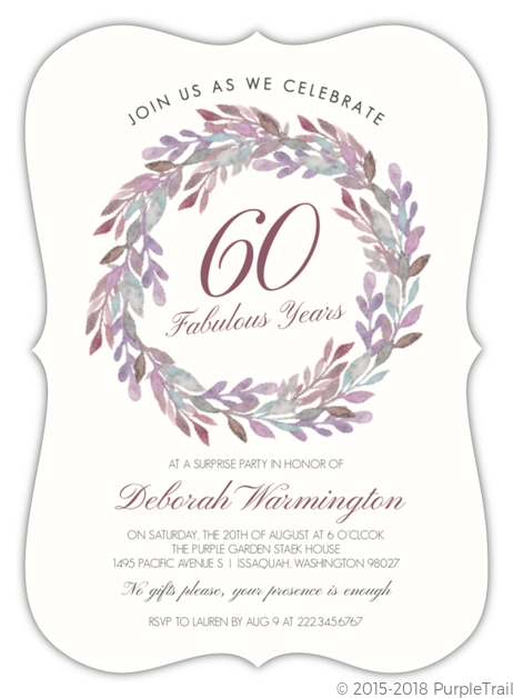 Elegant Watercolor Wreath 60th Birthday Invitation
