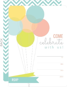Modern Balloons Fill in the Blank Birthday Invitation