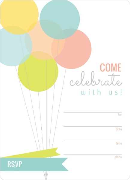 Modern Balloons Fill In The Blank Birthday Invitation