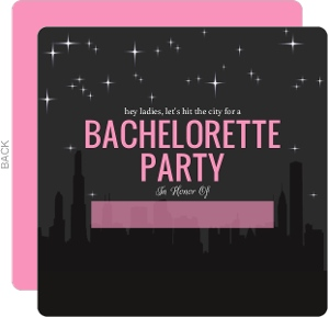 Hit The City Skyline Fill in the Blank Bachelorette Party Invitation