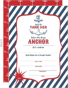 Blue and Red Anchor Tank Her Fill in the Blank Bachelorette Party Invitation