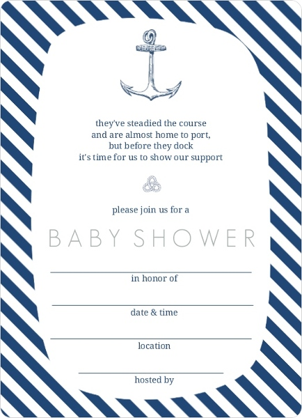 Top Navy and White Anchor Nautical Fill In The Blank Baby Shower Invite | CJ46