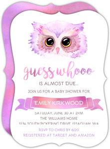 Purple Pink Watercolor Owl Baby Shower Invitation