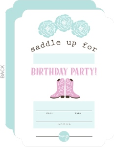 Saddle Up Cowgirl Kids Birthday Fill In Party Invitation