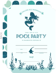 Mermaid Pool Party Fill-in-the-blank Invitation