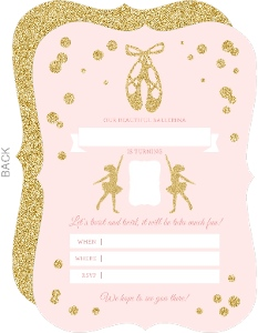 Pink and Gold Ballerina Birthday Fill-in-the-blank Invitation