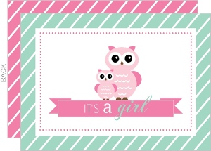 Mint and Pink Owls Girl Baby Shower fill-in-the-blank Invitation