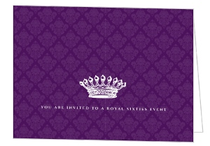 Royal Crown Purple 60Th Birthday Invitation