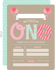 Pink and Mint First Birthday Fill-in-the-blank Invitation